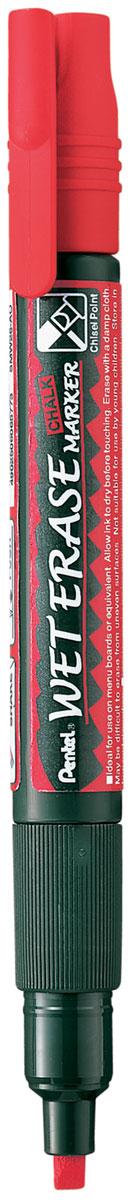 Pentel Маркер меловой Wet Erase Marker Chalk двусторонний цвет красный маркер pentel wet erase жидкий мел черный двусторонний пишущий узел 2 4мм