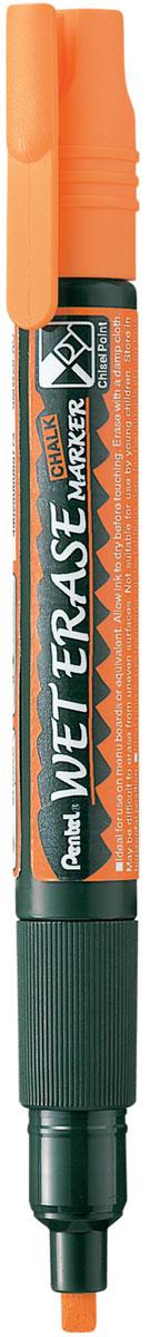 Pentel Маркер меловой Wet Erase Marker двусторонний цвет оранжевый маркер pentel wet erase жидкий мел черный двусторонний пишущий узел 2 4мм