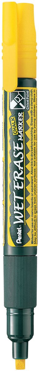 Pentel Маркер меловой Wet Erase двусторонний цвет желтый маркер pentel wet erase жидкий мел черный двусторонний пишущий узел 2 4мм