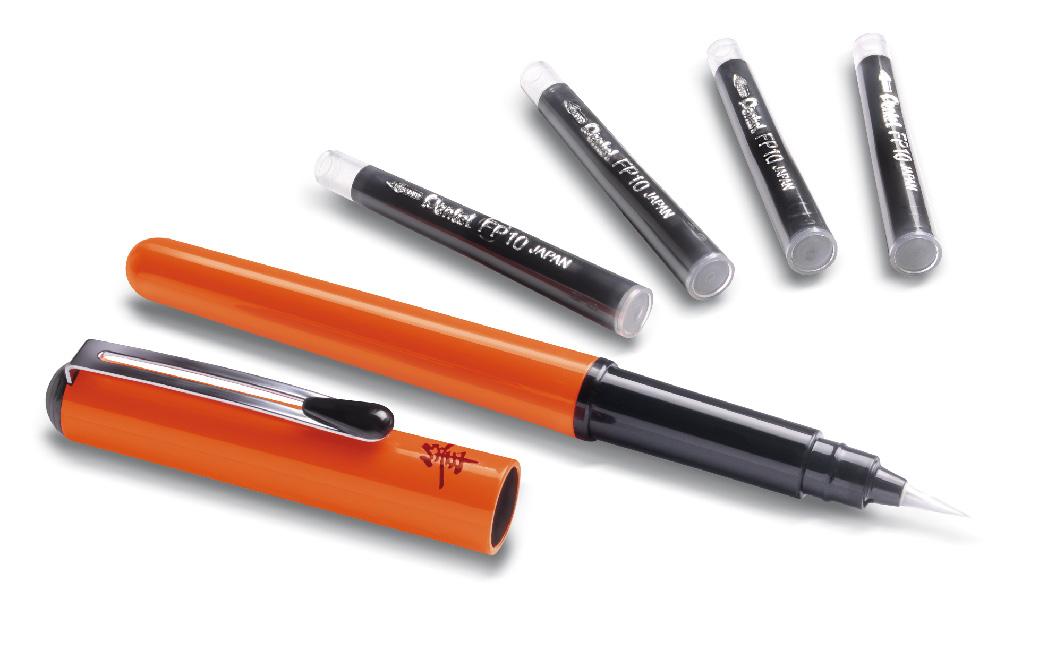 Pentel Ручка-кисть для каллиграфии Brush Pen цвет корпуса оранжевый + 4 картриджа инструмент восстанавливающая кисть