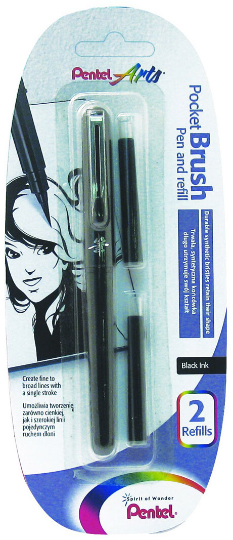 Pentel Ручка-кисть для каллиграфии Brush Pen цвет черный + 2 картриджа pentel маркер кисть для каллиграфии brush sing pen medium черная