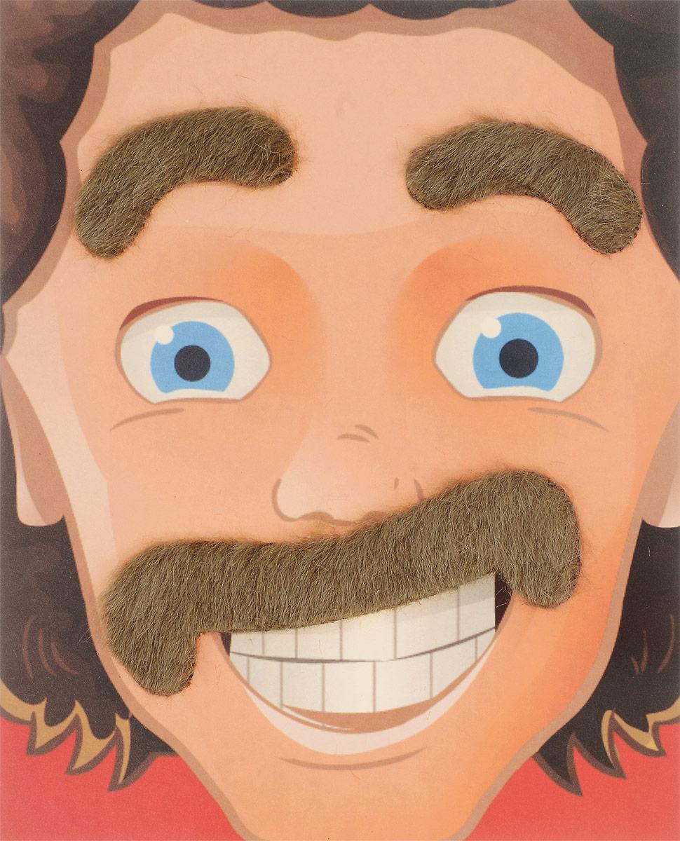 цена Partymania Карнавальный набор Брови и усы цвет русый в интернет-магазинах