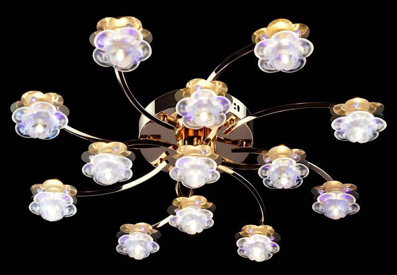 Потолочная люстра Eurosvet 4853/13 золото/синий+красный+фиолетовый потолочная люстра с пультом ду eurosvet 4853 9 хром синий красный фиолетовый