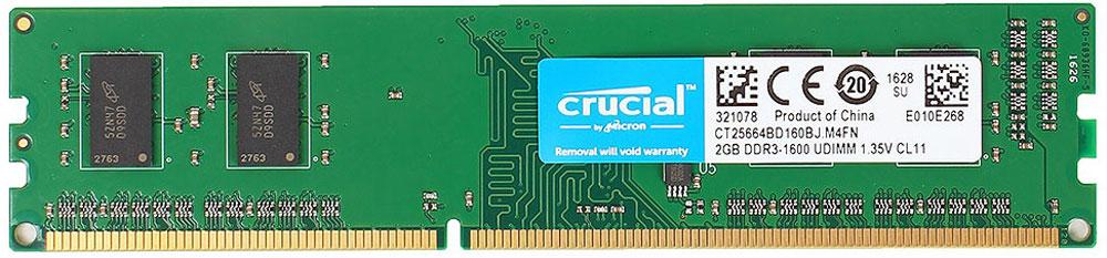 Модуль оперативной памяти Crucial DDR3L 2Gb 1600 МГц (CT25664BD160BJ) цена