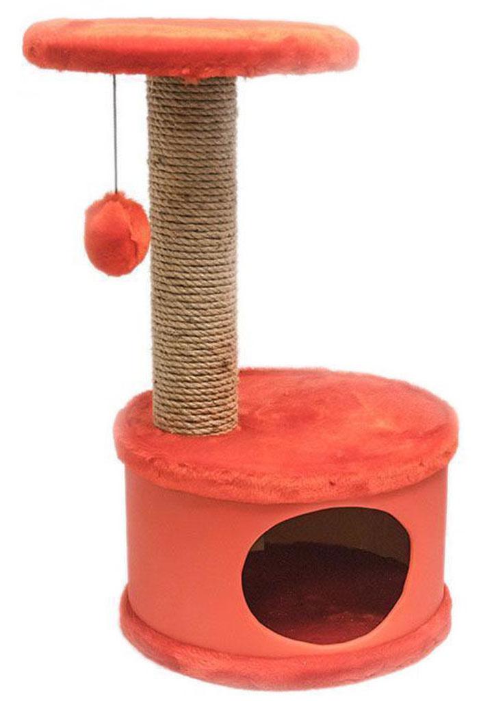 Домик-когтеточка Дарэлл Конфетти, круглый, цвет: красный, 37 х 37 х 73 см лежанка дарэлл rp9701 домик будка n1 37 37 37 бязь