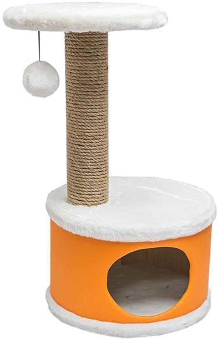 Домик-когтеточка Дарэлл Конфетти, круглый, цвет: оранжевый, 37 х 37 х 73 см лежанка дарэлл rp9701 домик будка n1 37 37 37 бязь