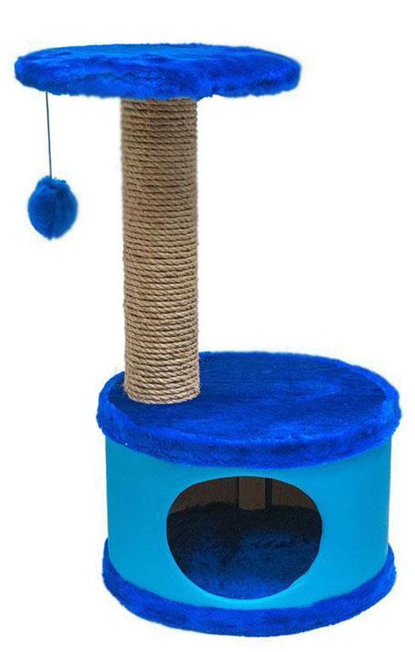 Домик-когтеточка Дарэлл Конфетти, круглый, цвет: синий, 37 х 37 х 73 см лежанка дарэлл rp9701 домик будка n1 37 37 37 бязь