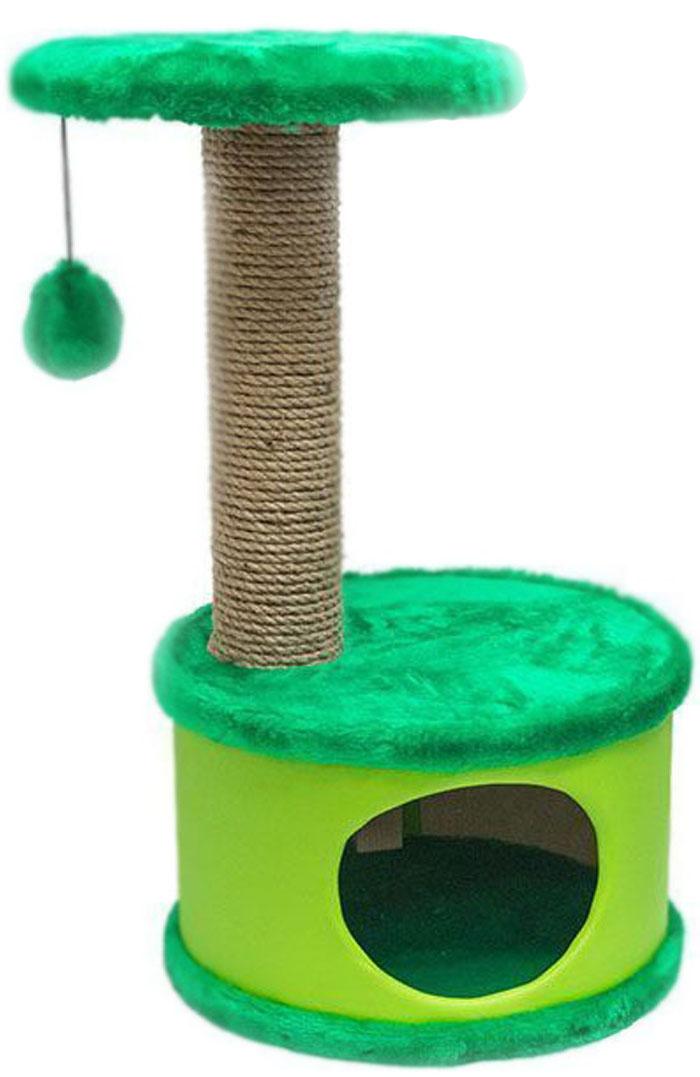Домик-когтеточка Дарэлл Конфетти, круглый, цвет: зеленый, 37 х 37 х 73 см лежанка дарэлл rp9701 домик будка n1 37 37 37 бязь