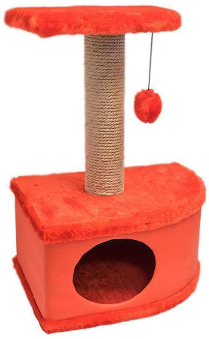 Домик-когтеточка Дарэлл Конфетти, угловой, цвет: красный, 49 х 37 х 70 см лежанка дарэлл rp9701 домик будка n1 37 37 37 бязь