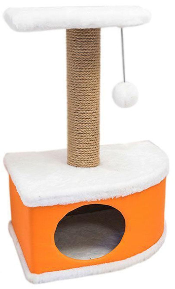 Домик-когтеточка Дарэлл Конфетти, угловой, цвет: оранжевый, 49 х 37 х 70 см лежанка дарэлл rp9701 домик будка n1 37 37 37 бязь
