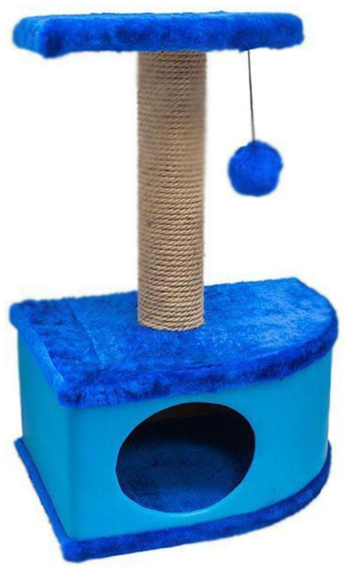 Домик-когтеточка Дарэлл Конфетти, угловой, цвет: синий, 49 х 37 х 70 см лежанка дарэлл rp9701 домик будка n1 37 37 37 бязь