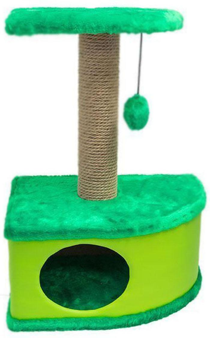 Домик-когтеточка Дарэлл Конфетти, угловой, цвет: зеленый, 49 х 37 х 70 см лежанка дарэлл rp9701 домик будка n1 37 37 37 бязь