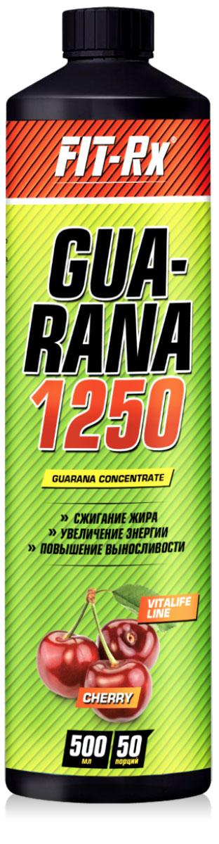 Энергетический напиток FIT-Rx Guarana 1250, вишня, 500 мл энергетический напиток bbb guarana shots вишня 20 ампул 1500 мг в ампуле