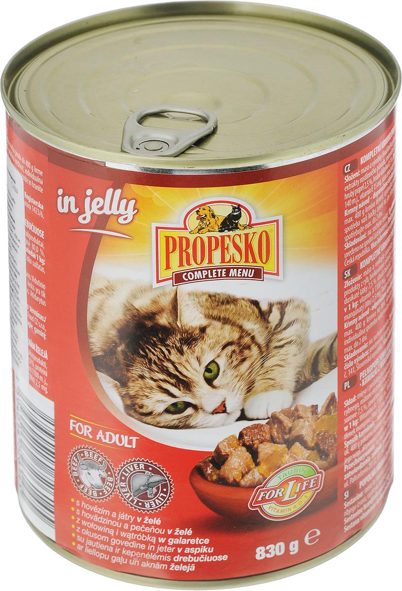 """Консервы для кошек """"Propesko"""", желе с говядиной и печенью, 830 г"""