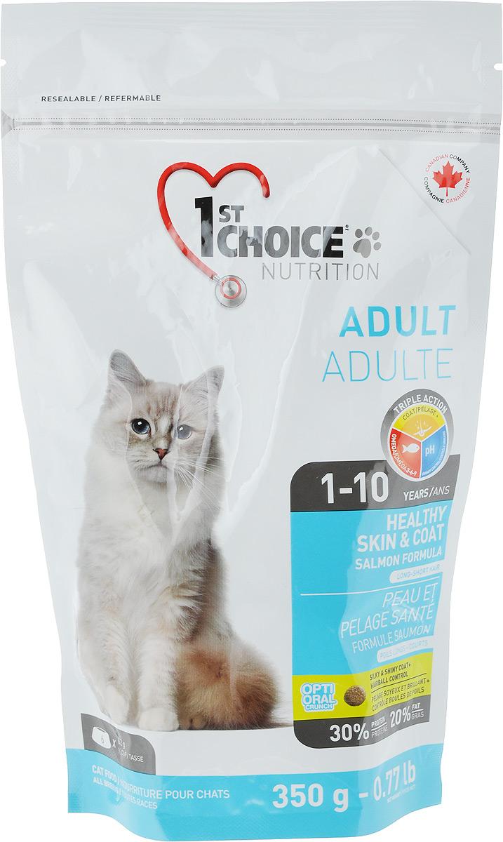 """Корм сухой 1st Choice """"Adult"""", для здоровья шерсти и кожи взрослых кошек, с лососем, 350 г. 102.1.220"""