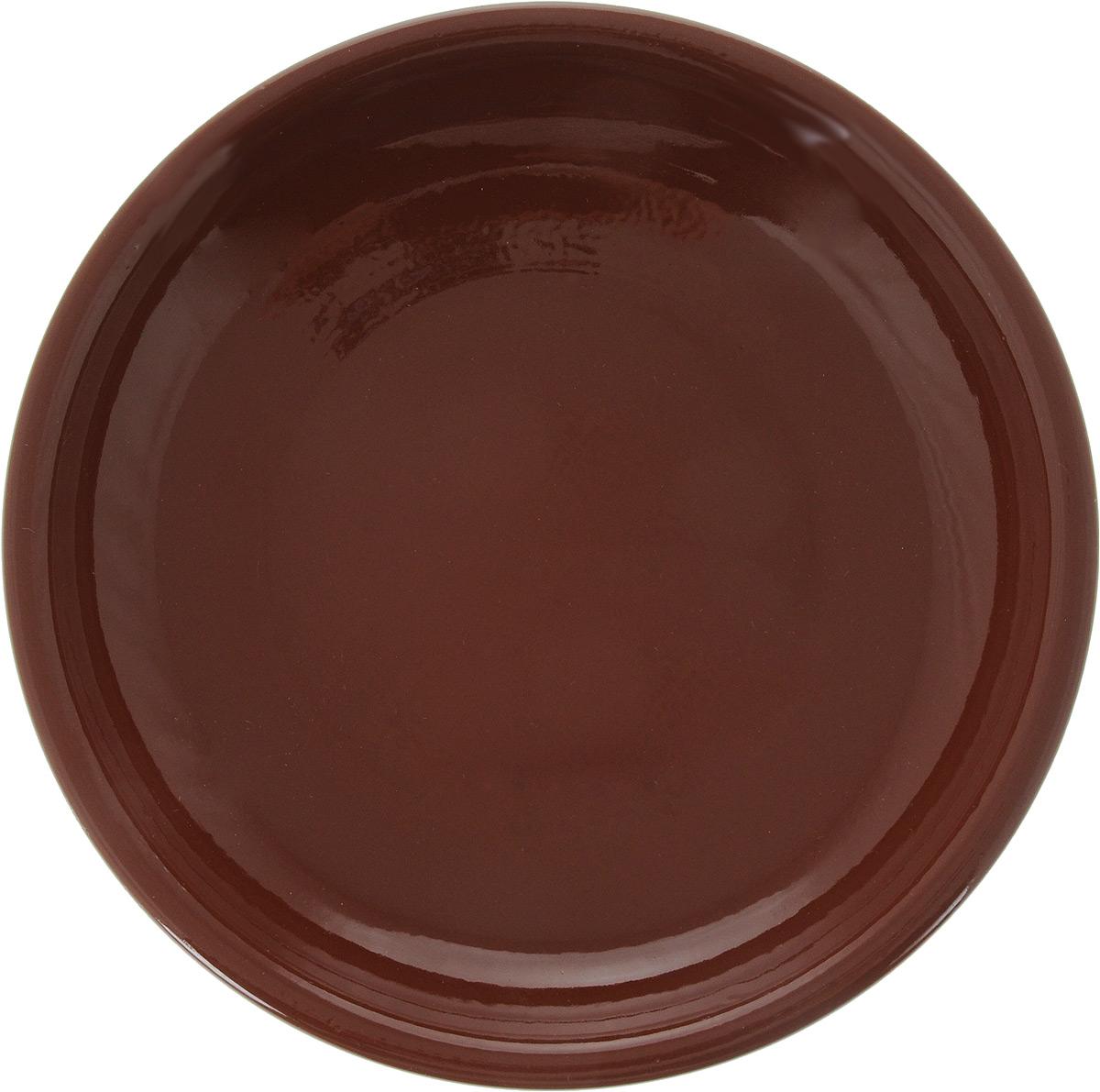 """Тарелка Борисовская керамика """"Радуга"""", цвет: красно-коричневый, диаметр 18 см"""