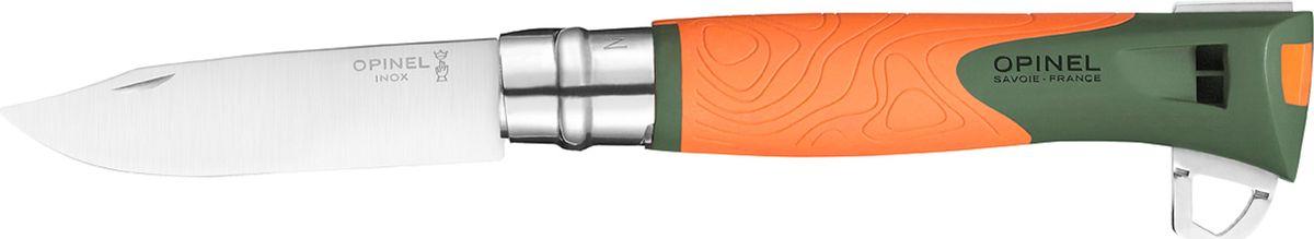 Нож Opinel Specialists Explore №12, клинок 10 см, цвет: оранжевый, серый нож opinel gardening для грибников с щеточкой