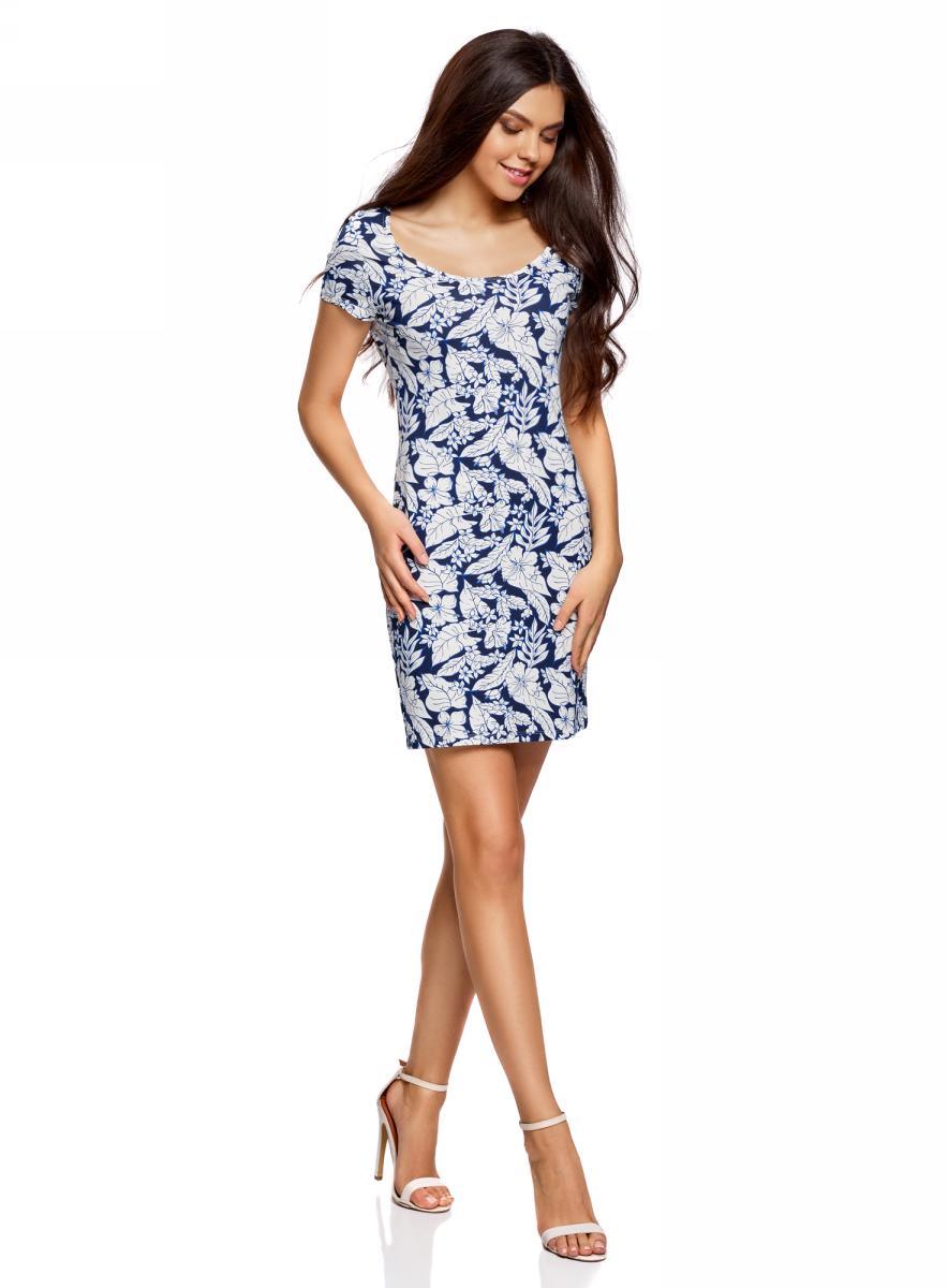 Платье oodji платье oodji ultra цвет темно синий 14001194b 46154 7900n размер xxs 40