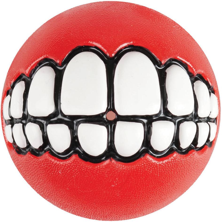 Игрушка для собак Rogz Grinz. Зубы, с отверстием для лакомства, цвет: красный, диаметр 6,4 см lovetoy luna beards ii розовые вагинальные шарики со смещенным центром тяжести