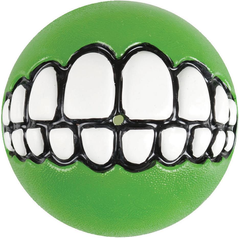 Игрушка для собак Rogz Grinz. Зубы, с отверстием для лакомства, цвет: лайм, диаметр 6,4 см lovetoy luna beards ii розовые вагинальные шарики со смещенным центром тяжести