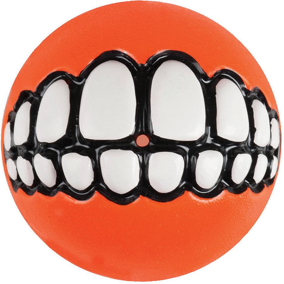 Игрушка для собак Rogz Grinz. Зубы, с отверстием для лакомства, цвет: оранжевый, диаметр 4,9 см lovetoy luna beards ii розовые вагинальные шарики со смещенным центром тяжести