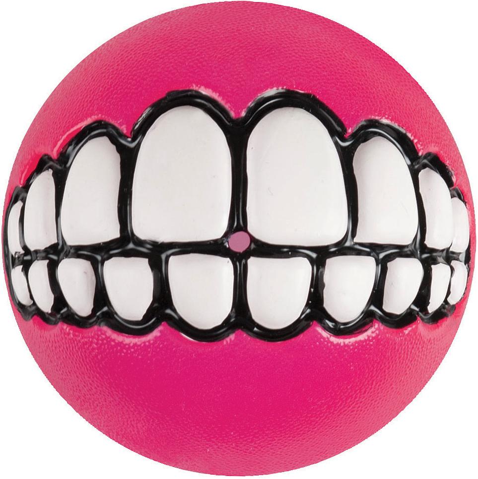 Игрушка для собак Rogz Grinz. Зубы, с отверстием для лакомства, цвет: розовый, диаметр 6,4 см lovetoy luna beards ii розовые вагинальные шарики со смещенным центром тяжести