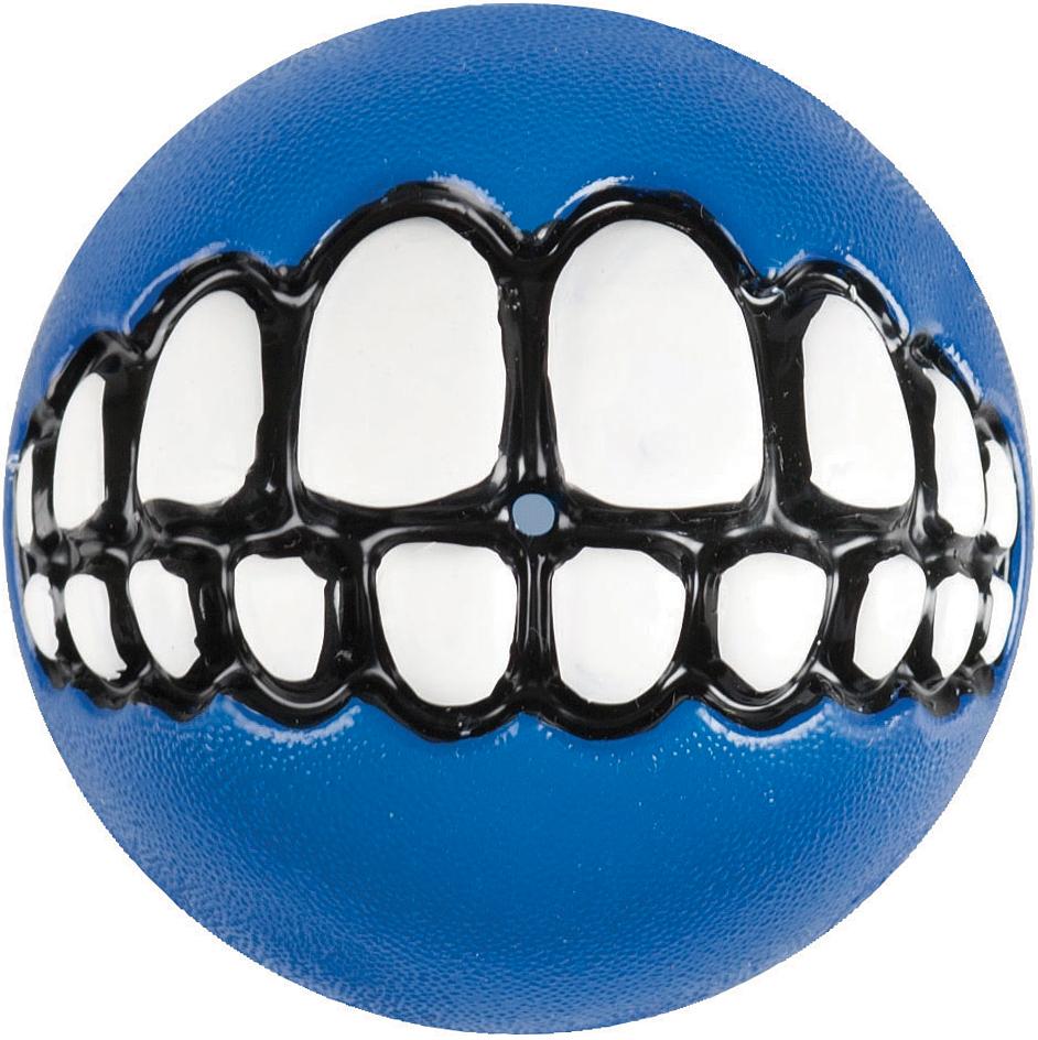 Игрушка для собак Rogz Grinz. Зубы, с отверстием для лакомства, цвет: синий, диаметр 4,9 см lovetoy luna beards ii розовые вагинальные шарики со смещенным центром тяжести