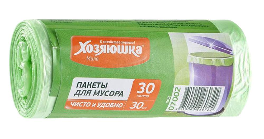 Пакеты для мусора Хозяюшка Мила, цвет: салатовый, 30 л, 30 шт пакет для запекания хозяюшка мила 30 х 40 см 5 шт