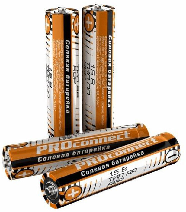 Батарейка солевая PROconnect, тип АА-R6P, 4 шт батарейка proconnect r20 30 0050 2 штуки