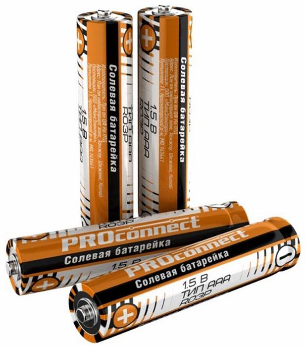 Батарейка солевая PROconnect, тип ААА-R03P, 4 шт батарейка proconnect r20 30 0050 2 штуки