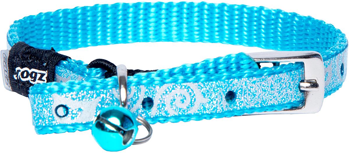 """Ошейник для кошек Rogz """"SparkleCat"""", цвет: голубой, ширина 8 мм"""