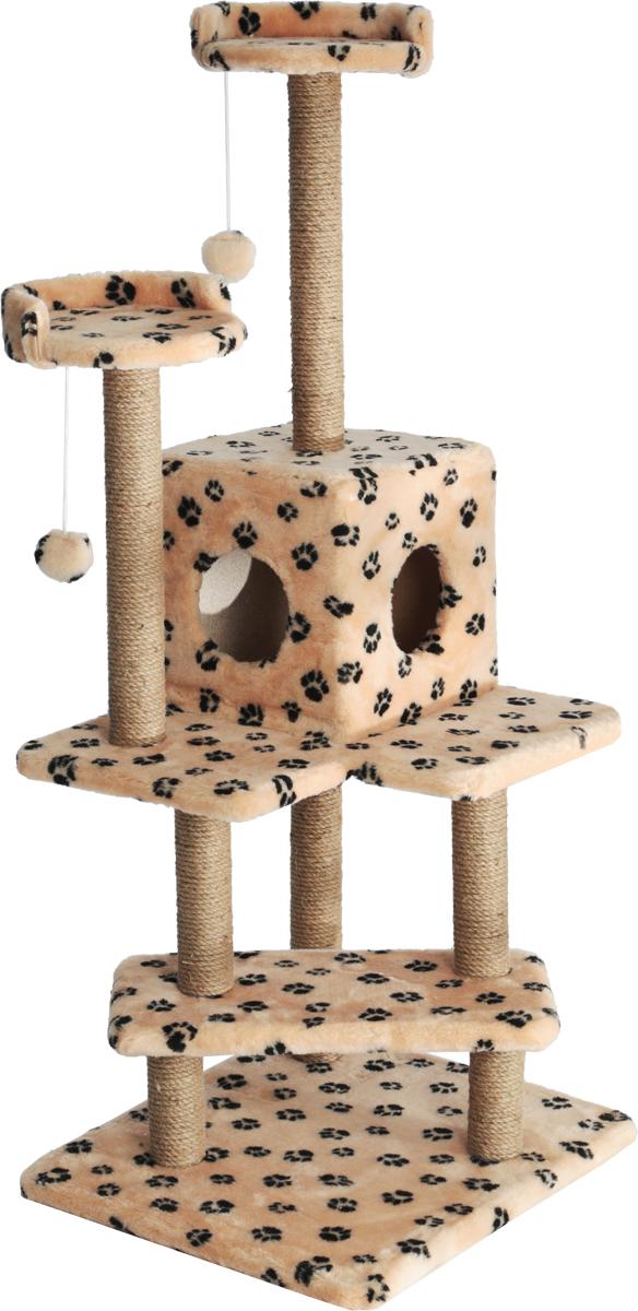 Игровой комплекс для кошек Меридиан Лестница, цвет: бежевый, черный, 56 х 50 х 142 см игровой комплекс для кошек меридиан с двумя полками цвет белый черный бежевый 68 х 39 х 104 см