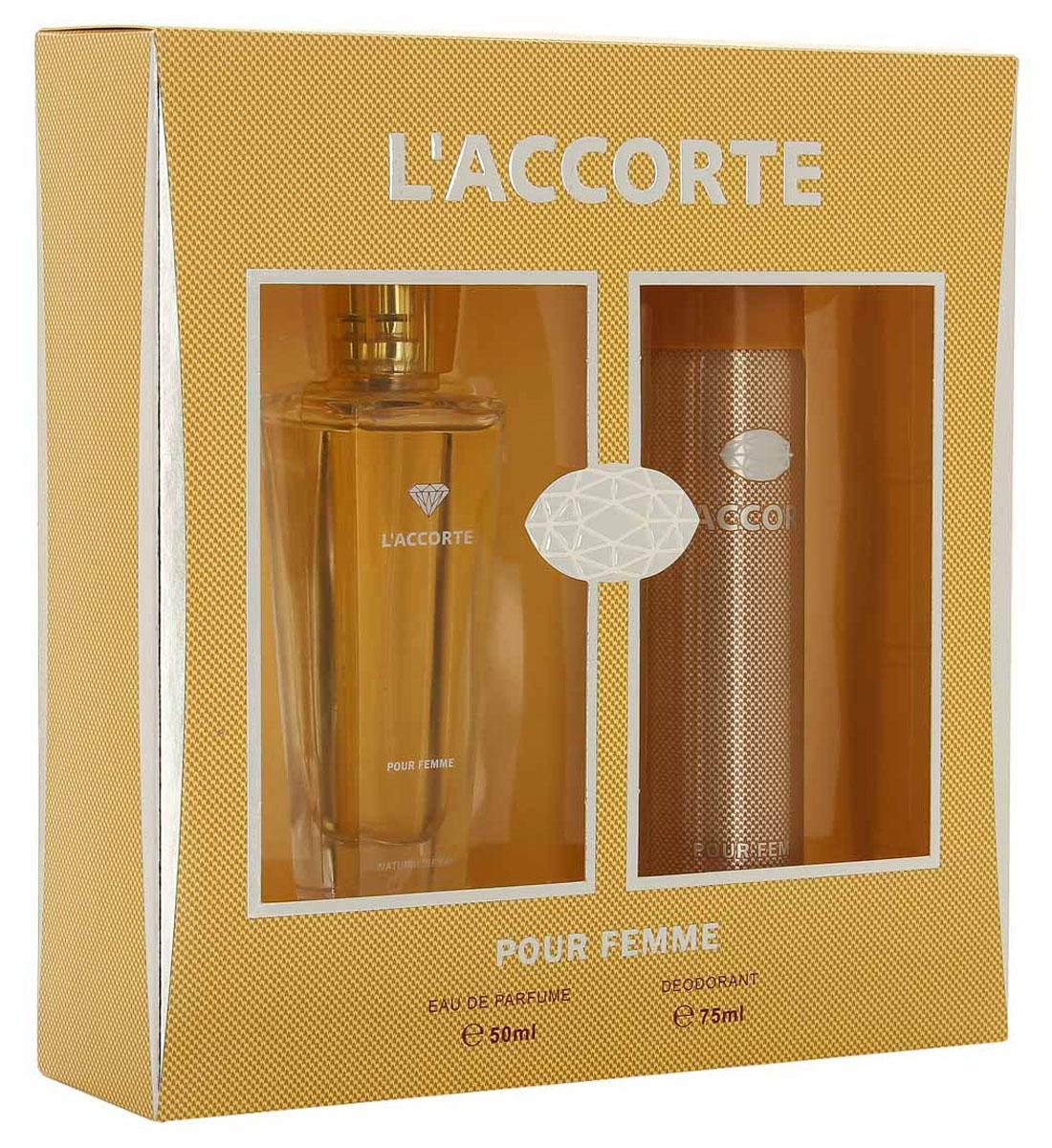 """КПК-Парфюм Подарочный набор для женщин """"L'Accorte"""": Туалетная вода, 50 мл + Парфюмированный дезодорант, 75 мл"""