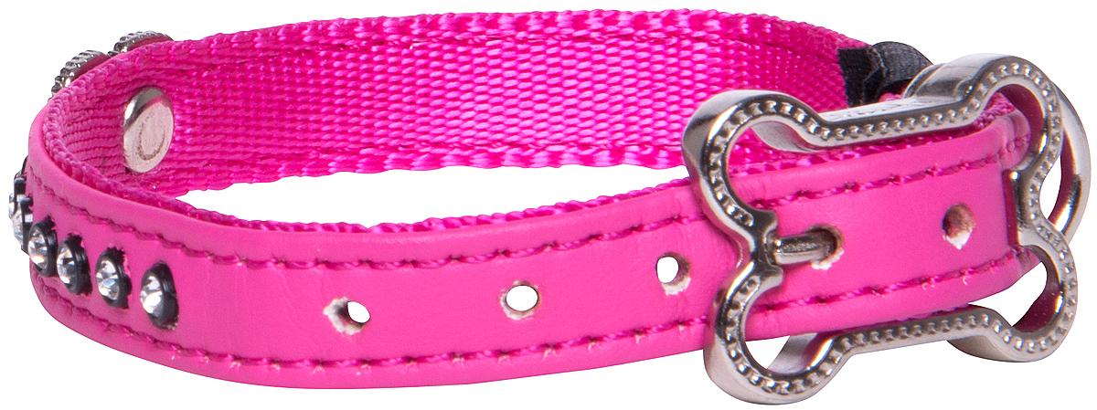"""Ошейник для собак Rogz """"Luna"""", цвет: розовый, ширина 1,6 см. Размер M"""