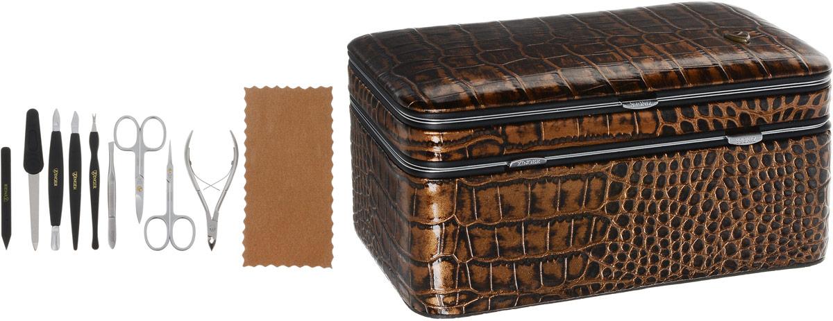 """Zinger Маникюрный набор """"zMs 1202-801SM"""", с косметичкой, 9 предметов, цвет: коричневый"""