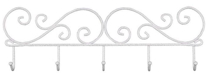 Вешалка настенная ЗМИ Кружева, с 5 крючками, цвет: белый, серебристый, 40 х 4 х 13 см вешалка настенная зми кружева с 3 крючками цвет черный 20 х 4 х 13 см