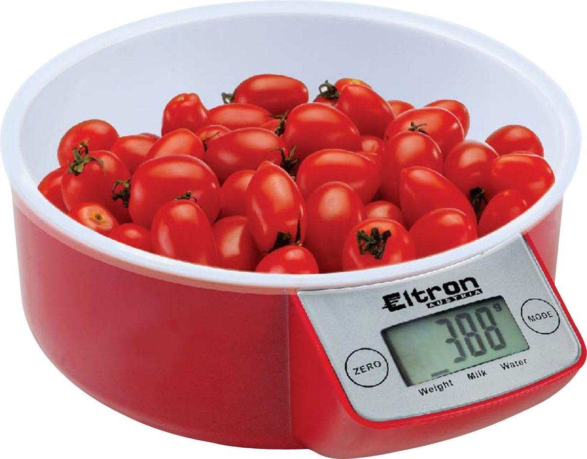Весы кухонные Eltron, электронные, цвет: красный, белый, до 5 кг. 9257EL весы eltron el 9219