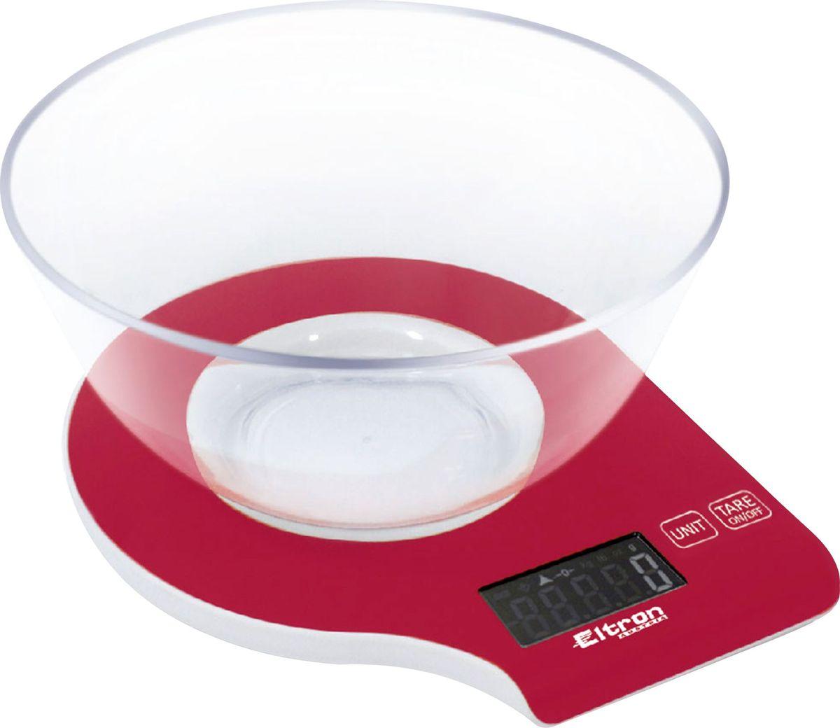 Весы кухонные Eltron, электронные, цвет: красный, до 5 кг. 9261EL весы eltron el 9219