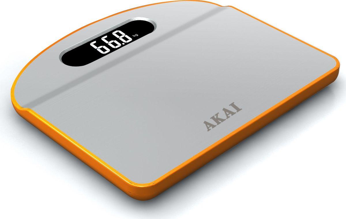 Весы напольные Akai, электронные, цвет: белый, оранжевый, до 150 кг. 1351/О