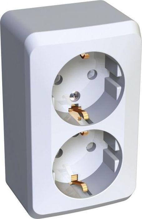 Розетка двойная Schneider Electric Lexel Этюд, для наружной проводки, с заземлением, цвет: белый розетка pa16 003b этюд 1 местная открытой проводки 16а с заземлением белая schneider electric