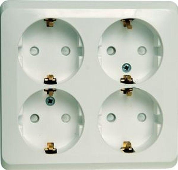 Розетка Schneider Electric Lexel Этюд, для наружной проводки, четырехместная, с заземлением, цвет: белый розетка pa16 003b этюд 1 местная открытой проводки 16а с заземлением белая schneider electric
