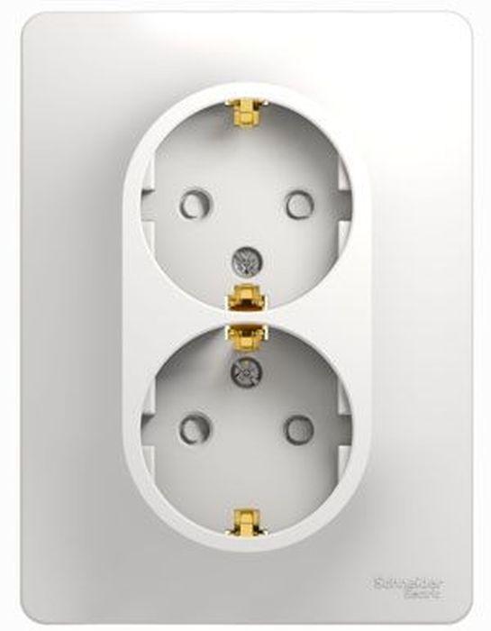 Розетка двойная Schneider Electric Glossa, с заземлением, со шторками, цвет: белый, в сборе. SE GSL000126 розетка simon electric с заземлением цвет белый 16 а 250 в