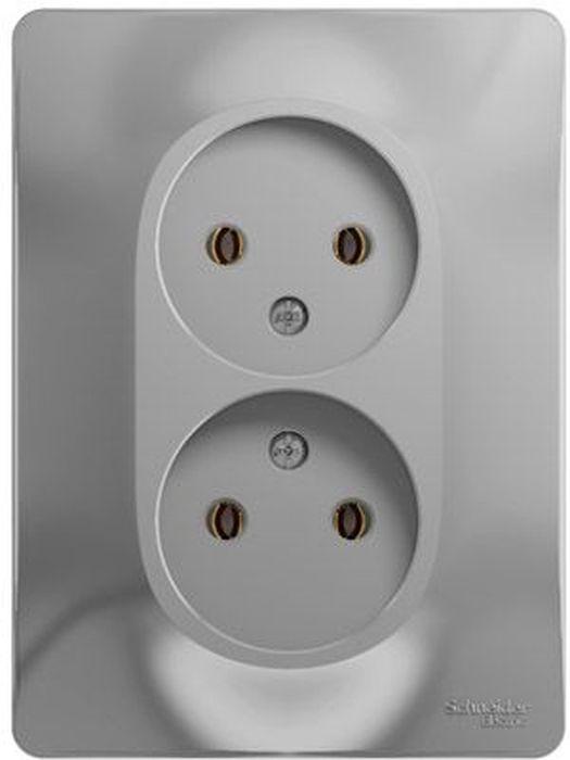 Розетка двойная Schneider Electric Glossa, цвет: алюминий, в сборе. SE GSL000320 розетка tv schneider electric glossa белый
