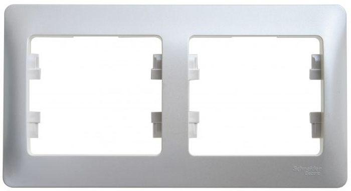 Рамка для встраиваемой розетки Schneider Electric Glossa, горизонтальная, на 2 поста, цвет: перламутровый