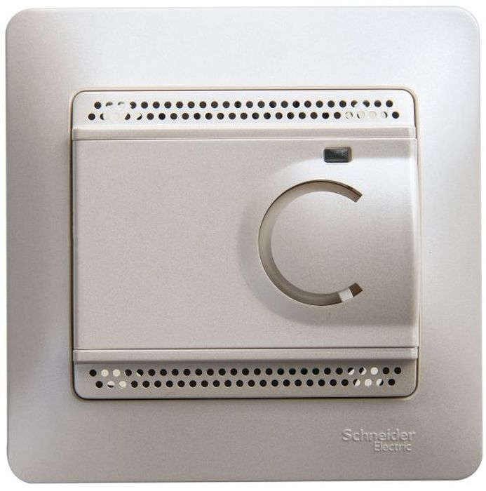 """Термостат теплого пола Schneider Electric """"Glossa"""", с датчиком, от +5 до +50 °C, 10 A, цвет: перламутр, в сборе. SE GSL000638"""