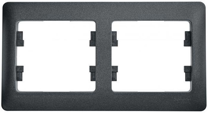 Рамка для встраиваемой розетки Schneider Electric Glossa, горизонтальная, на 2 поста, цвет: антрацит