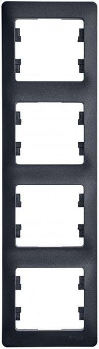 Рамка для встраиваемой розетки Schneider Electric Glossa, горизонтальная, на 4 поста, цвет: антрацит