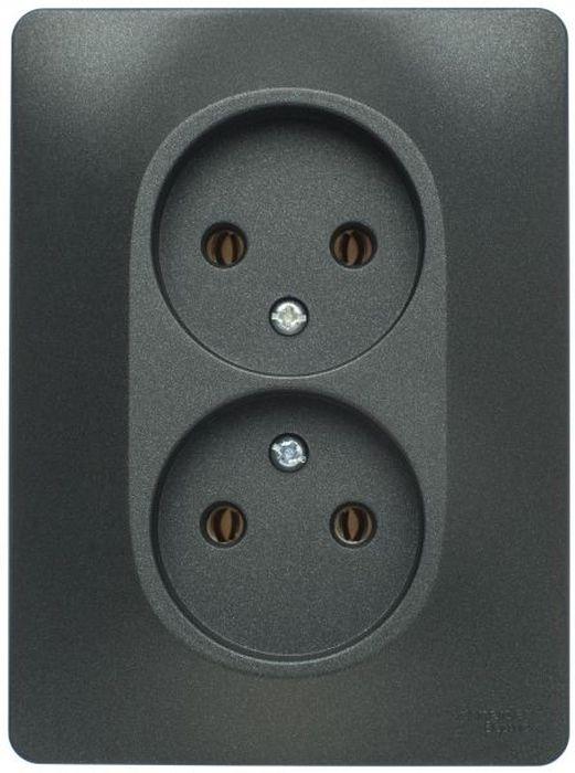 Розетка двойная Schneider Electric Glossa, цвет: антрацит, в сборе. SE GSL000720 розетка tv schneider electric glossa белый
