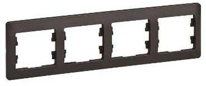 Рамка для встраиваемой розетки Schneider Electric Glossa, горизонтальная, на 4 поста, цвет: шоколад рамка 2 поста schneider electric glossa шоколад