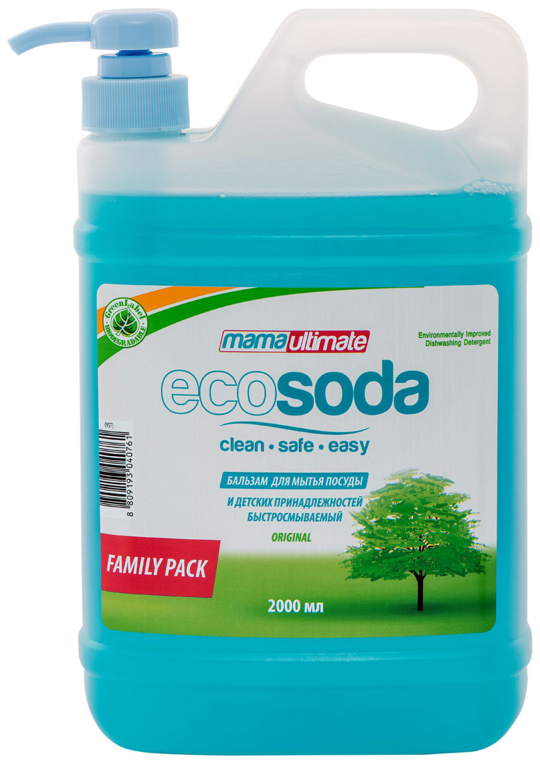 """Бальзам для мытья посуды и детских принадлежностей EcoSoda """"Original"""", быстросмываемый, 2 л"""